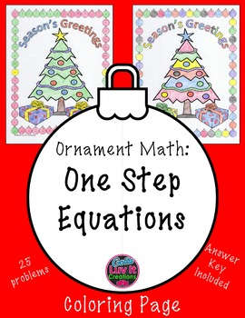 Christmas Math One Step Equation Color by Number Surprise