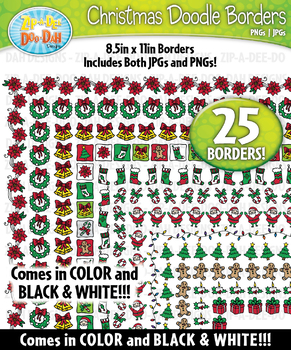 Christmas Doodle Frame Borders Set  — Includes 25 Graphics!