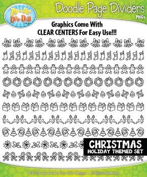Christmas Doodle Page Divider Clipart Set — Includes 10 Graphics!
