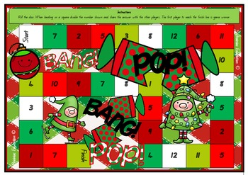 Christmas Doubling Numbers Board Game