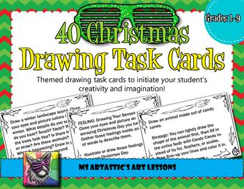 Christmas Art Drawing Task Cards or Sketchbook Prompts