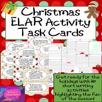 Christmas Activities * 16 Fun Writing Task Card Activities