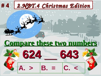 Christmas Edition 2nd Grade Math 2.NBT.4 Compare Two Three