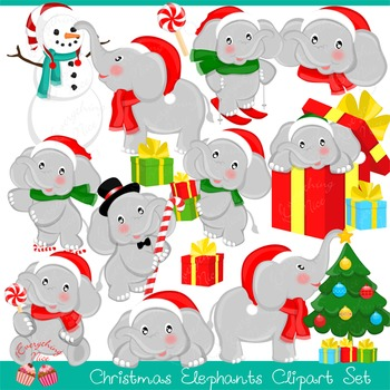 Christmas Elephant Clipart Set