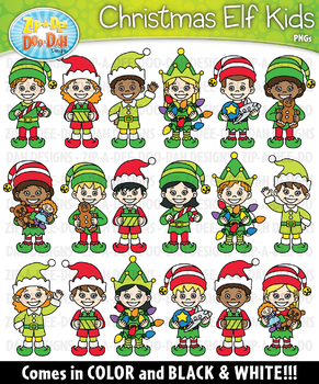 Christmas Elf Kid Characters Clipart Set — Includes 40 Graphics!