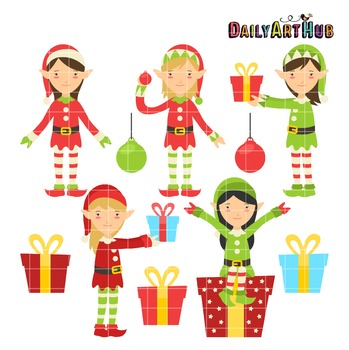 Christmas Elves Clip Art - Great for Art Class Projects!