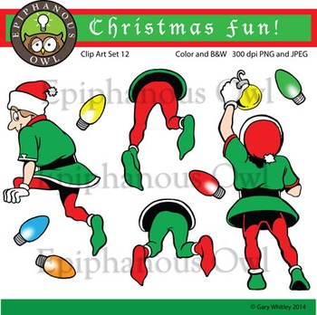 Christmas Elves Clip Art Set 12