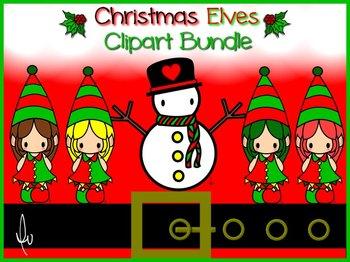 Christmas Elves Jester Clipart Bundle