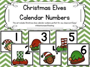 Christmas Elves Themed Calendar Numbers {Christmas}
