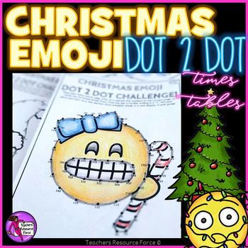 Christmas Math: Dot to Dot Times Tables Emoji Theme - Diff