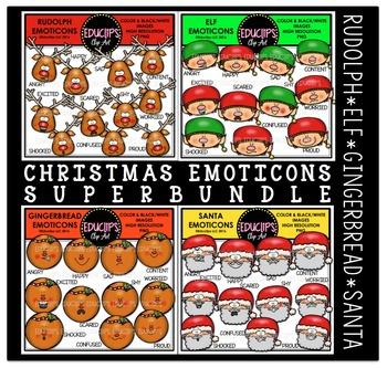 Christmas Emoticons Clip Art Super Bundle