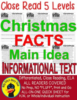 Christmas FACTS 5 level passages w/ TDQ's, Fluency, Main I