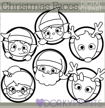 Christmas Faces Blackline Clip Art