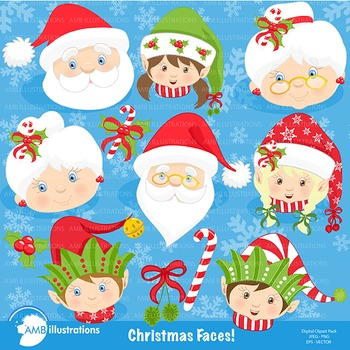 Christmas Faces clipart AMB-191
