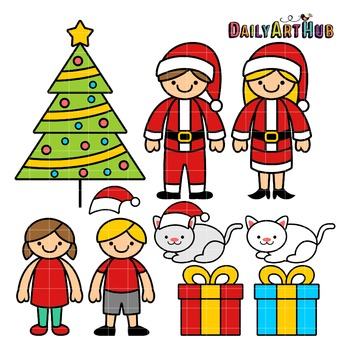 Christmas Family Clip Art - Great for Art Class Projects!