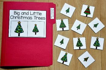 Christmas File Folder Game:  Big and Little Christmas Trees Sort