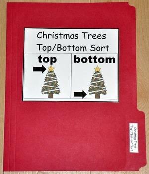 """Christmas File Folder Game--""""Christmas Tree Tops and Bottoms"""""""