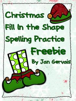 Christmas Fill In The Shape Spelling Practice Freebie