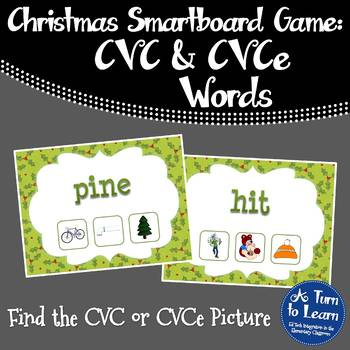 Christmas Find the CVC or CVCe Picture Game for Smartboard