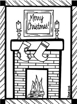 Christmas Fireplace Coloring Sheet