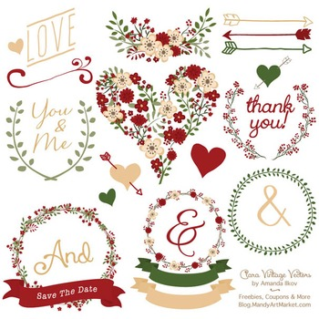 Christmas Floral Heart Clipart