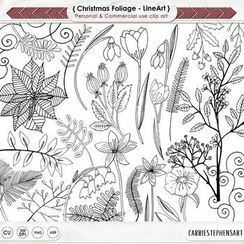 Christmas Flower Black Line Art, Poinsettia Digital Stamp,