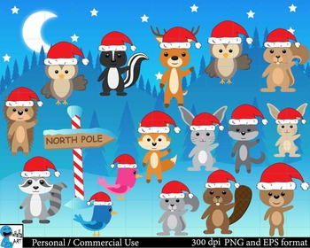 Christmas Forest animals Digital Clip Art Graphics 48 imag