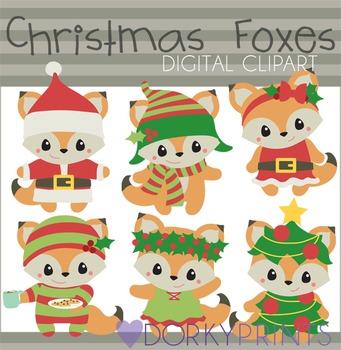 Christmas Foxes Digital Clip Art