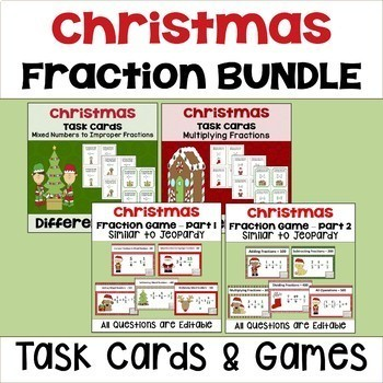 Christmas Fraction Bundle - Task Cards & PowerPoint Games