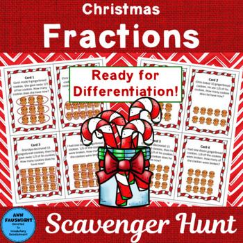 Christmas Fractions Scavenger Hunt