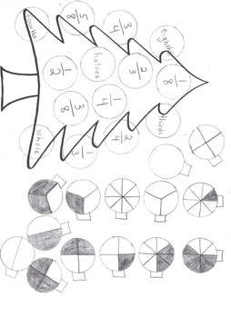 Christmas Fractions (parts of a whole cut and paste) hand drawn.
