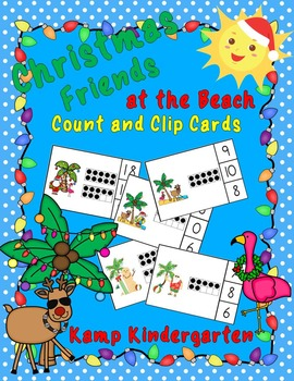 Christmas Friends at the Beach Count and Clip Cards (Quant