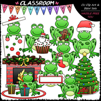 Christmas Frogs Clip Art - Christmas Clip Art & B&W Set
