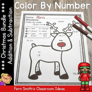 Color By Numbers Christmas Math Addition and Subtraction C