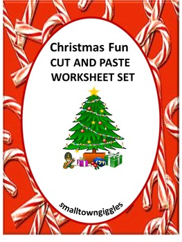 Christmas Cut and Paste Math & Literacy Worksheets Kinderg