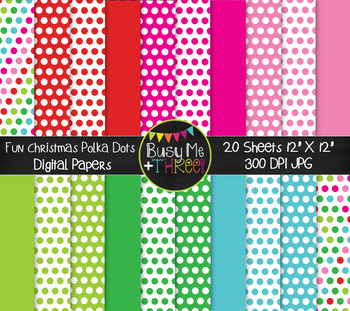 Christmas Fun Dots on White Digital Papers {Commercial Use