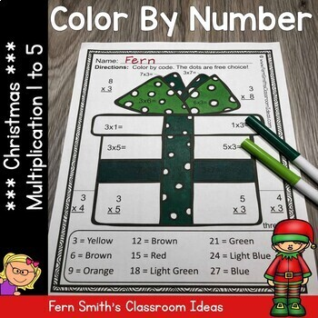Color By Numbers Christmas Math Multiplication Facts One to Five