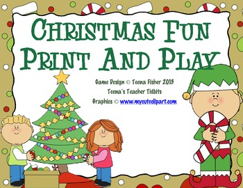 Christmas Fun Print and Play Math 20 Centers Games Low INK