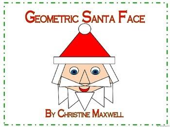 Christmas Geometric Santa Face 2D Shapes