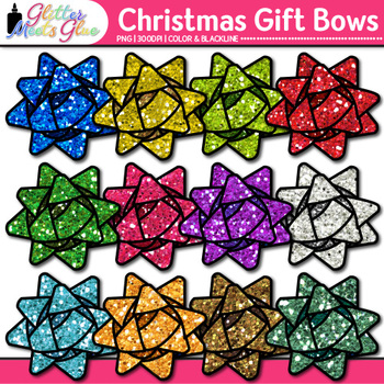 Christmas Gift Bow Clip Art {Graphics for Present Tags & D
