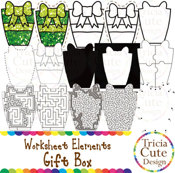 Gift Box Worksheet Elements Clip Art for Tracing Cutting P