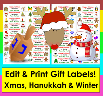 Christmas Gift Name Labels -Edit, Print and Go!