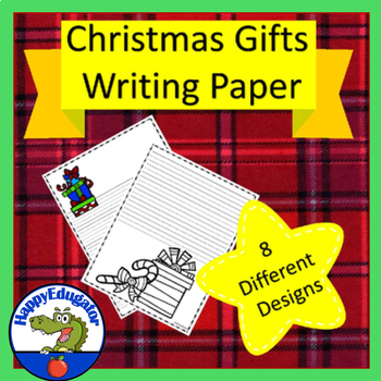 Christmas Gift  Writing Paper - Lined Paper - Christmas Pr