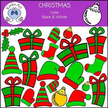 Christmas {Gifts Stockings Holly} Clip Art