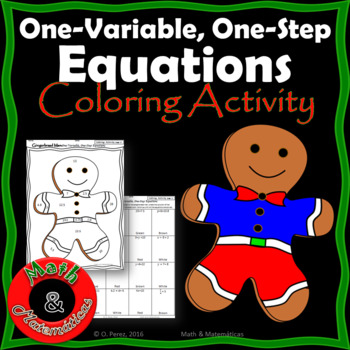 Christmas Gingerbread Man - Solving One-Variable, One-step