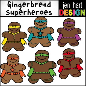 Christmas Gingerbread Superheroes Clipart