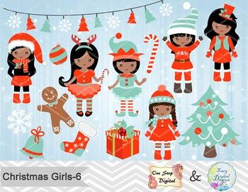 Christmas Girl Clip Art Teal Orange African American Chris