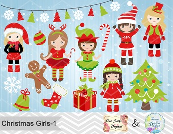 Christmas Girls Clip Art, Red and Green Christmas Girls Cl