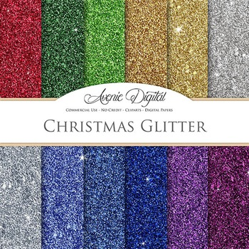Christmas Glitter Textures Background Digital Paper scrapb