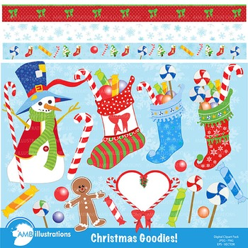 Clipart, Christmas Goodies clipart digital images,  AMB-169